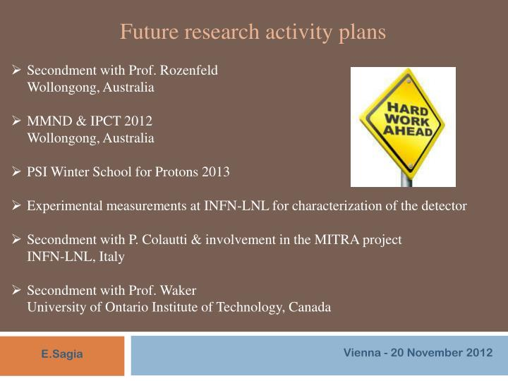 Future research activity plans