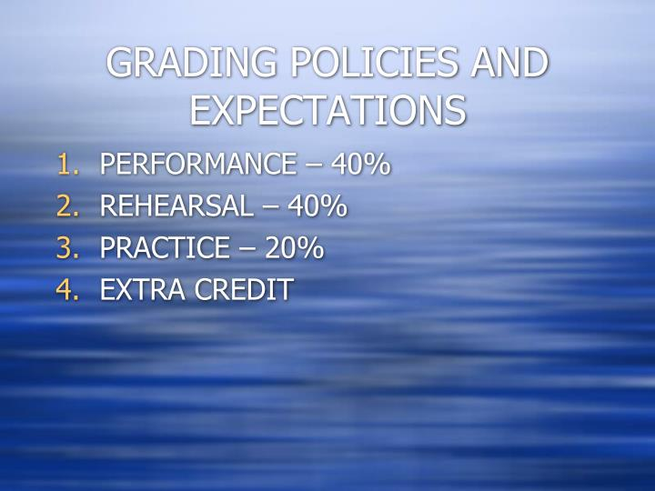 GRADING POLICIES AND EXPECTATIONS