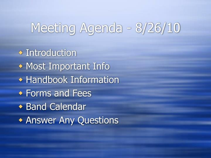 Meeting agenda 8 26 10
