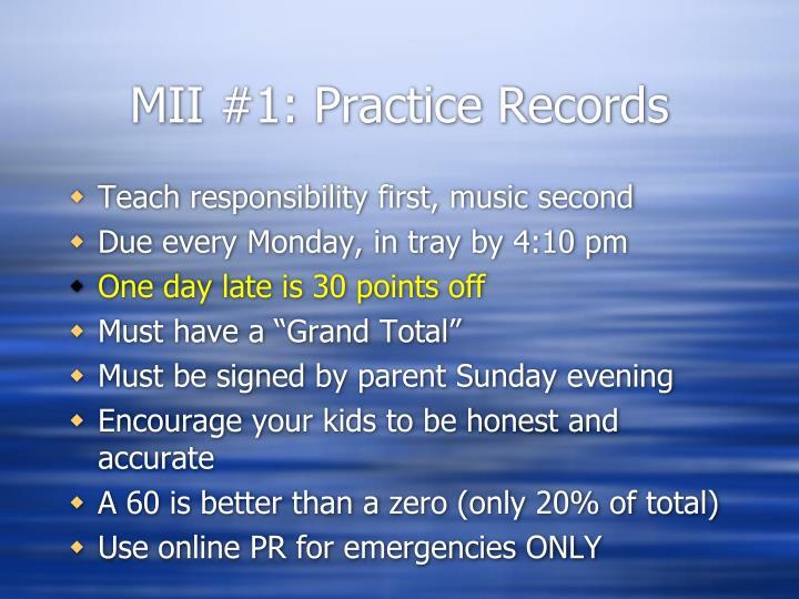 Mii 1 practice records