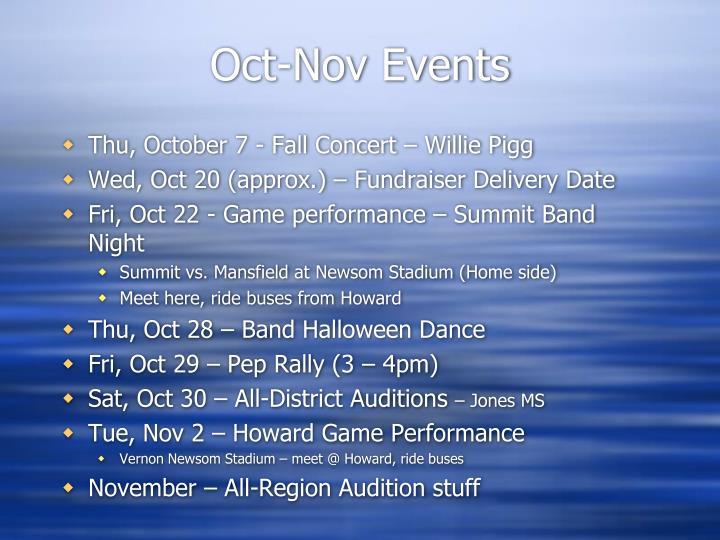 Oct-Nov Events