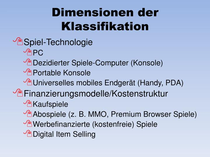 Dimensionen der Klassifikation