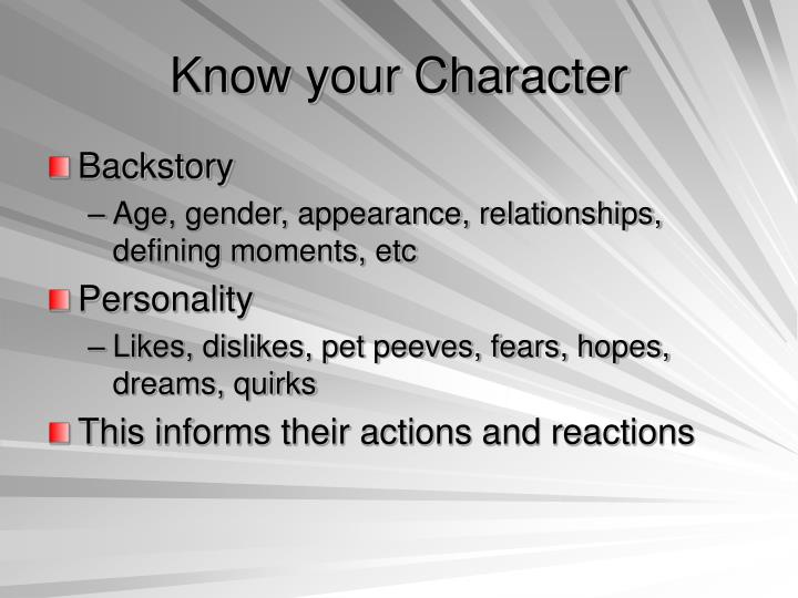 Know your Character