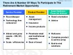 there are a number of ways to participate in the retirement market opportunity