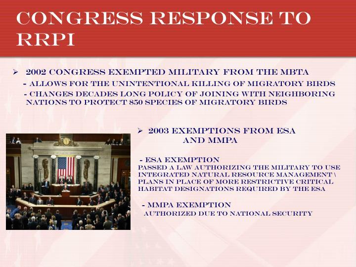 Congress Response to RRPI