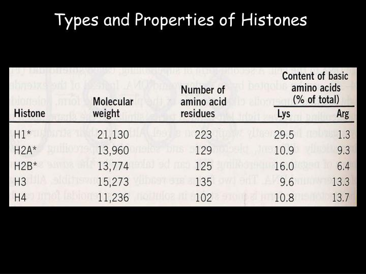 Types and Properties of Histones