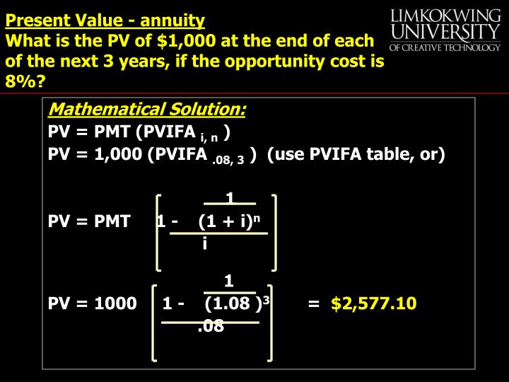 Present Value - annuity
