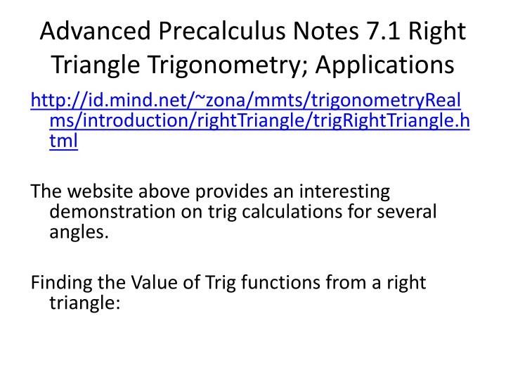 advanced precalculus notes 7 1 right triangle trigonometry applications