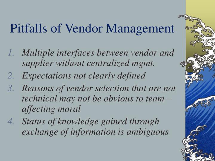 Pitfalls of Vendor Management
