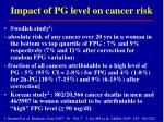 impact of pg level on cancer risk