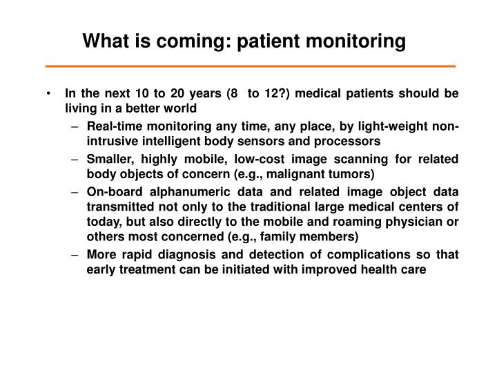 What is coming patient monitoring