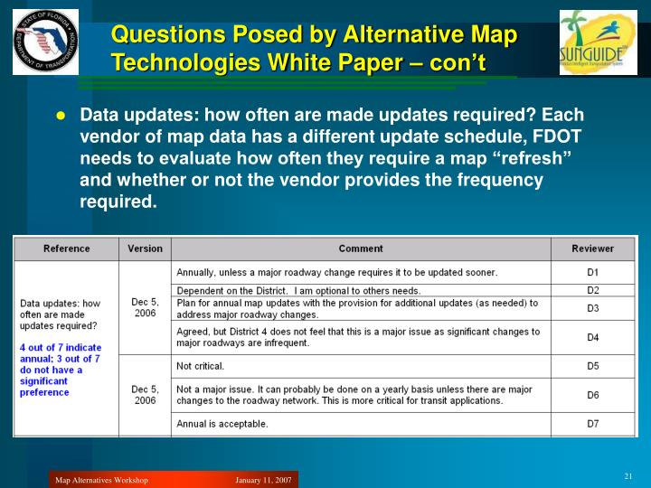 Questions Posed by Alternative Map Technologies White Paper – con't