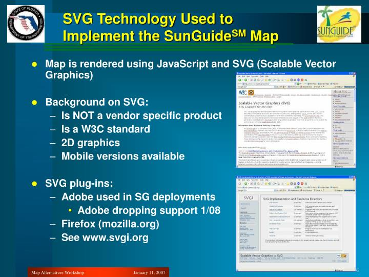 SVG Technology Used to Implement the SunGuide