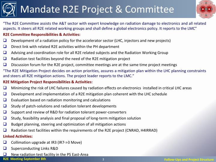 Mandate r2e project committee