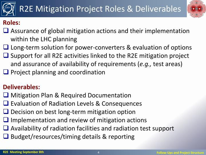 R2E Mitigation Project Roles & Deliverables