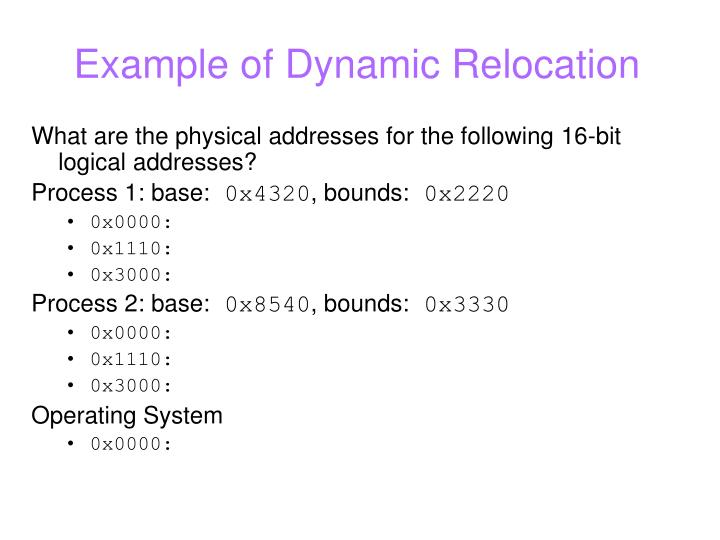 Example of Dynamic Relocation