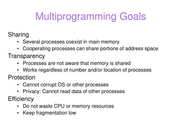 Multiprogramming goals