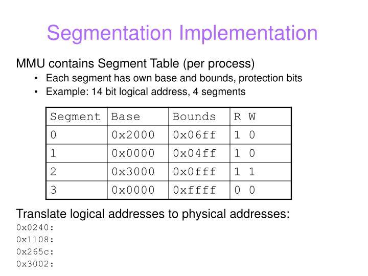 Segmentation Implementation