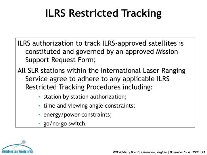 ILRS Restricted Tracking