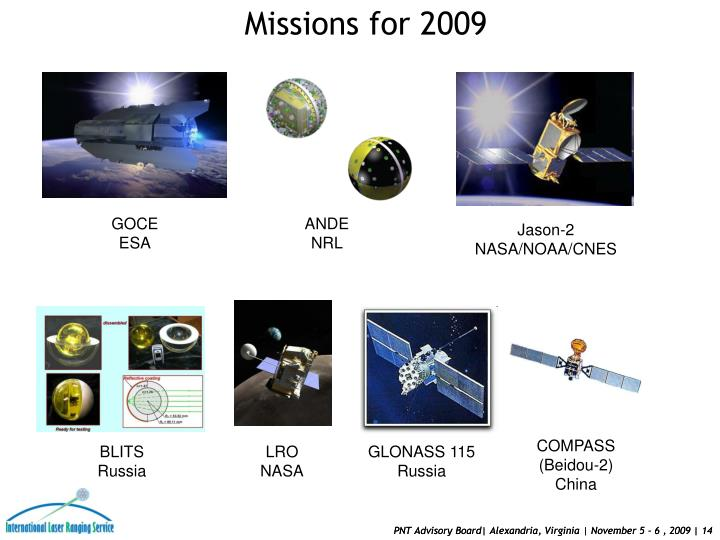 Missions for 2009