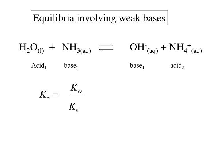 Equilibria involving weak bases