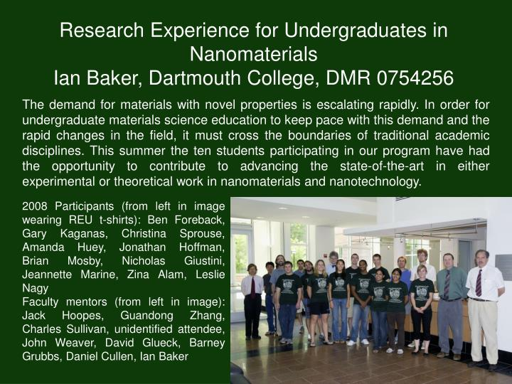 Research Experience for Undergraduates in Nanomaterials