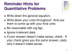 reminder hints for quantitative problems
