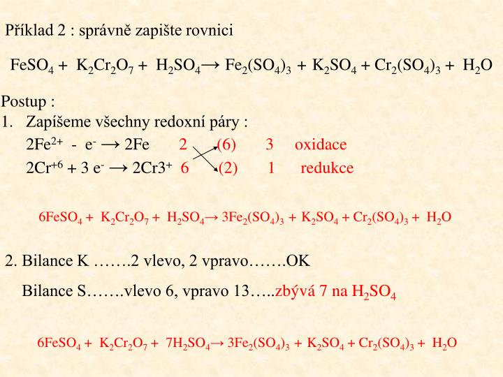 Příklad 2 : správně zapište rovnici
