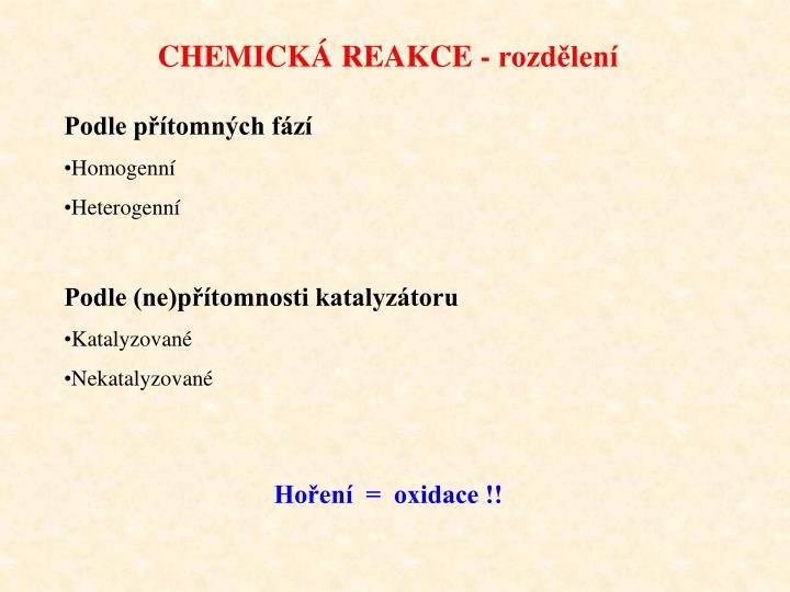 CHEMICKÁ REAKCE - rozdělení