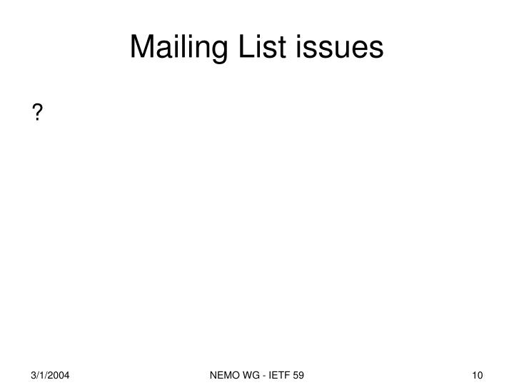 Mailing List issues