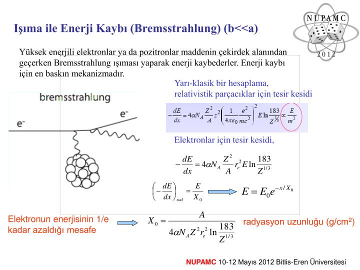 Elektronun enerjisinin 1/e kadar azaldığı mesafe
