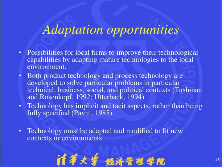 Adaptation opportunities