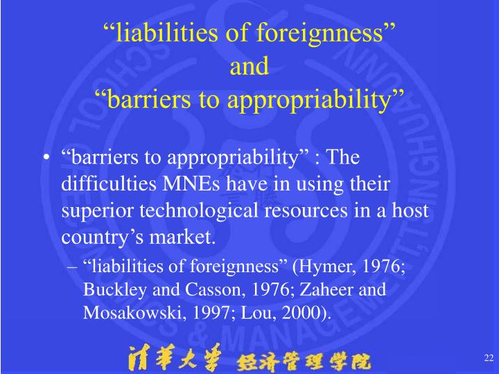 """""""liabilities of foreignness"""""""