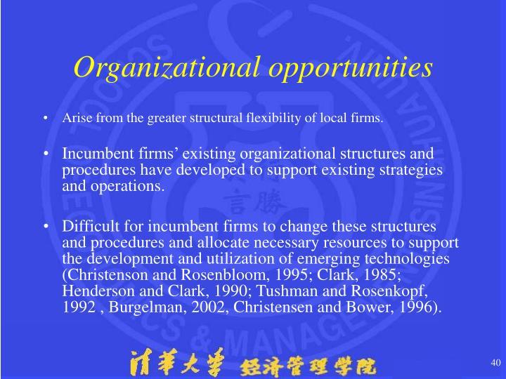 Organizational opportunities