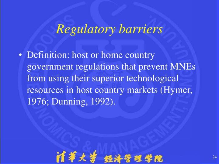 Regulatory barriers