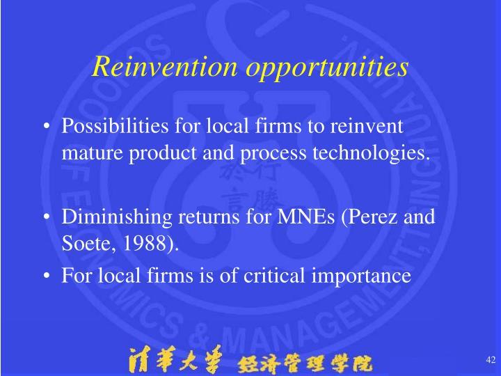 Reinvention opportunities