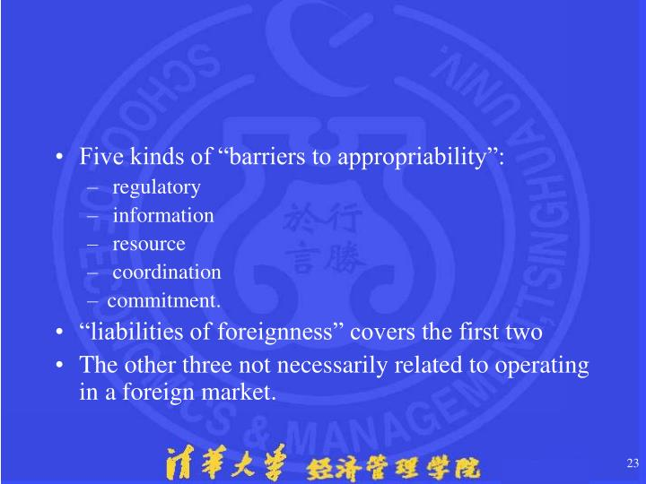 """Five kinds of """"barriers to appropriability"""":"""