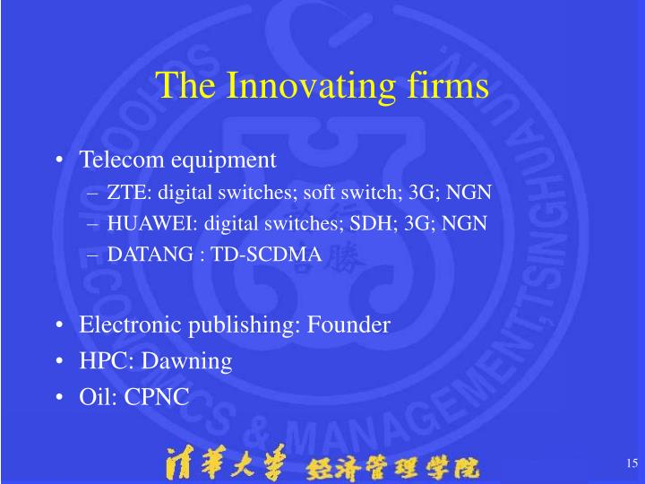 The Innovating firms
