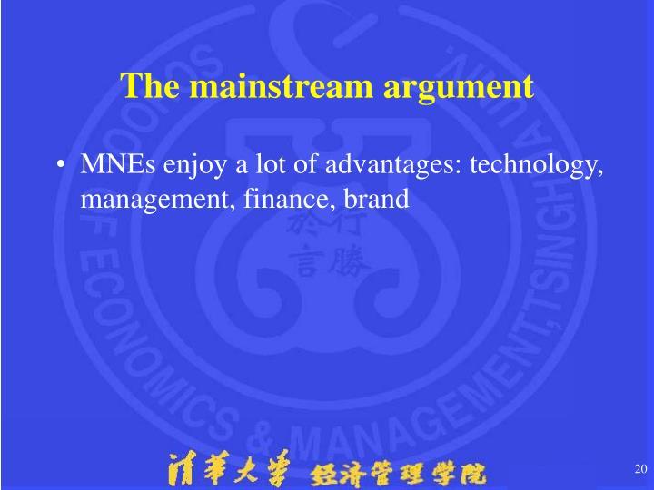 The mainstream argument