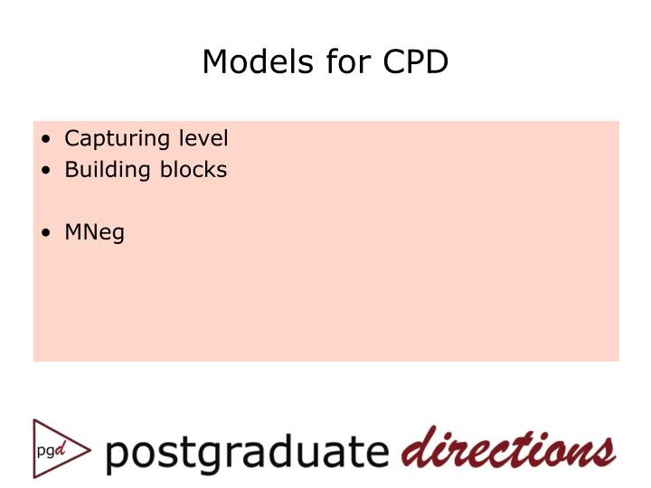 Models for CPD