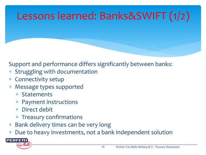 Lessons learned: Banks&SWIFT (1/2)