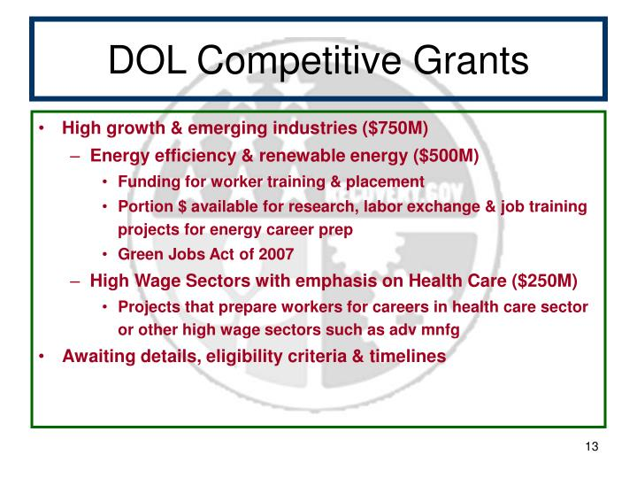 DOL Competitive Grants