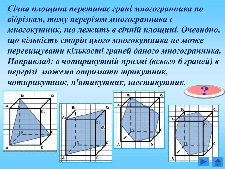 Січна площина перетинає грані многогранника по відрізкам, тому перерізом многогранника є многокутник, що лежить в січній площині. Очевидно, що кількість сторін цього многокутника не може перевищувати кількості граней даного многогранника. Наприклад: в чотирикутній призмі (всього 6 граней) в перерізі  можемо отримати трикутник, чотирикутник, п'ятикутник, шестикутник.