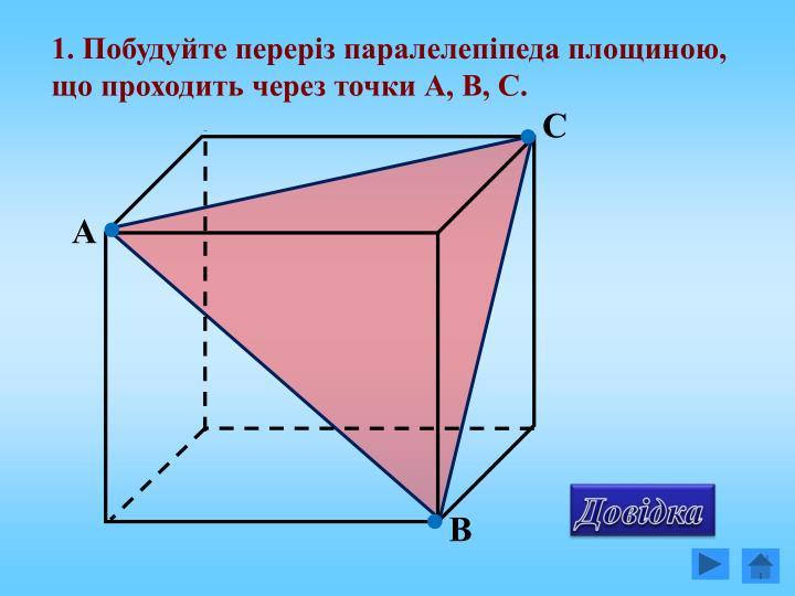 1. Побудуйте переріз паралелепіпеда площиною, що проходить через точки А, В, С.
