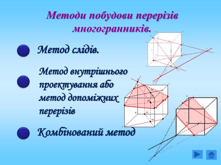 Методи побудови перерізів многогранників.