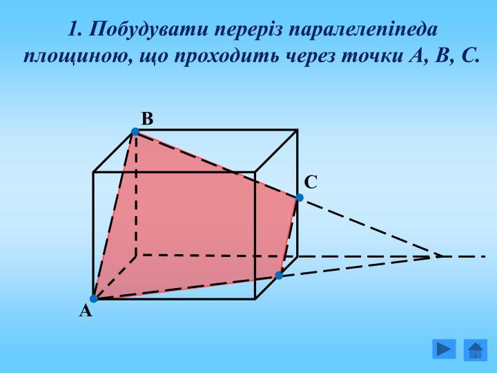 1. Побудувати переріз паралелепіпеда площиною, що проходить через точки А, В, С.