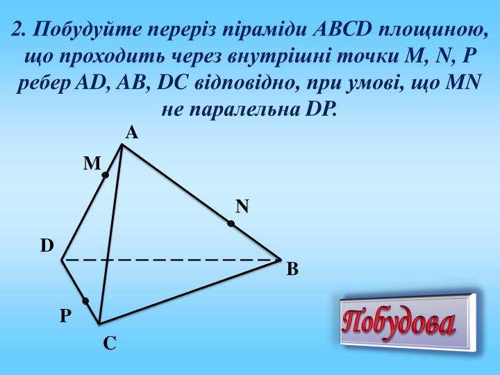 2. Побудуйте переріз піраміди АВС