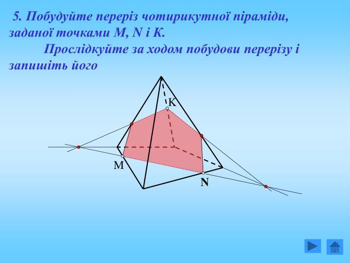 5. Побудуйте переріз чотирикутної піраміди, заданої точками М,