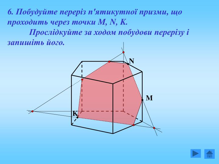 6. Побудуйте переріз п'ятикутної призми, що проходить через точки