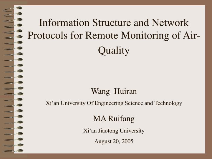 information structure and network protocols for remote monitoring of air quality n.